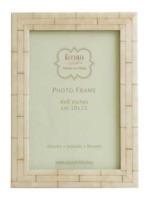Marquetry Frame Wall Bone 4x6 - Alma Decor