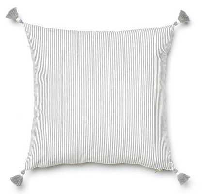 "Grey French Stripe Pillow - 24"" x24"" - No Insert - Caitlin Wilson"