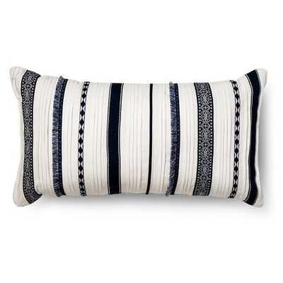 "Oversized Lumbar Layered Stripe Throw Pillow - Blue - 27""L x 15""W- Polyester fill insert - Target"
