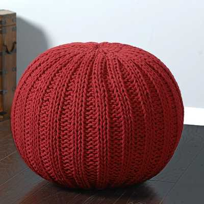 Sutton Hand-knitted Cable Cotton Pouf Ottoman - Marsala - Overstock