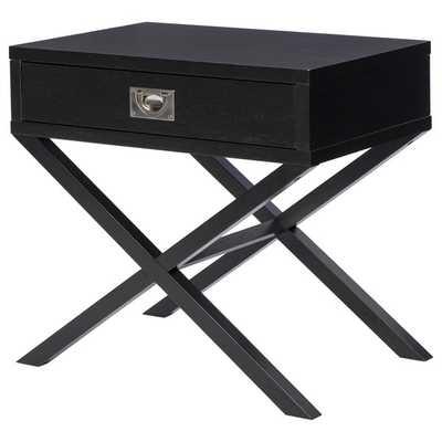 Napa Black 1-drawer Bedside Table - Overstock
