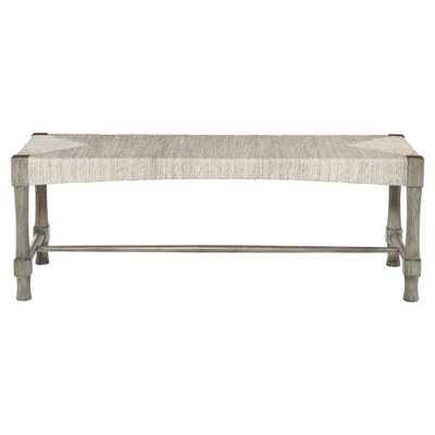 Clarcia Coastal Woven Abaca Light Grey Wood Bench - Kathy Kuo Home