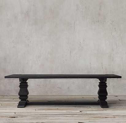 "Salvaged Wood Trestle Rectangular Extension Dining Table - Salvaged Black - 84"" - RH"