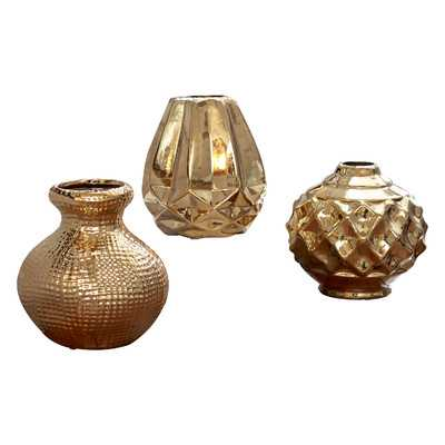 Ceramic Vase- set of 3 - Gold - Wayfair