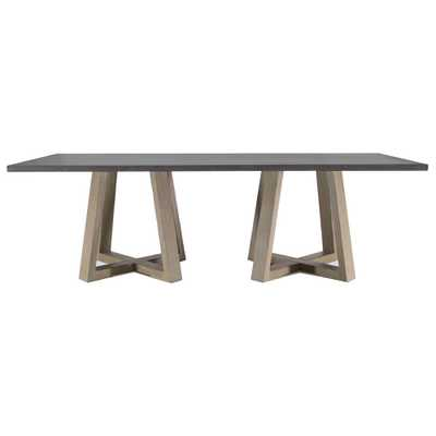 Bekah Industrial Rustic White Oak Cement Dining Table - Kathy Kuo Home