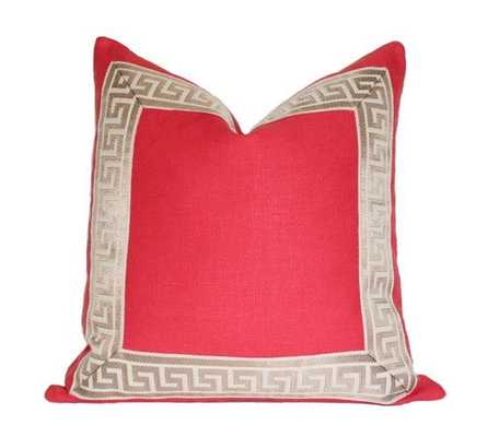 """Coral with Greek Key Border - 18"""" x 18"""" - No Insert - Arianna Belle"""