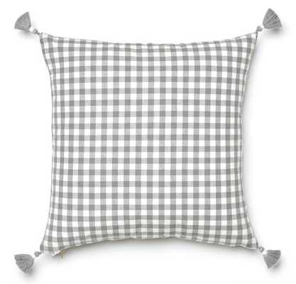 "Grey Gingham Pillow - 20"" x 20"" - Caitlin Wilson"