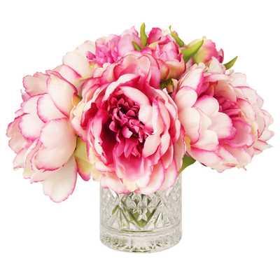 Pink & White Peony in Acrylic Water Vase - Wayfair