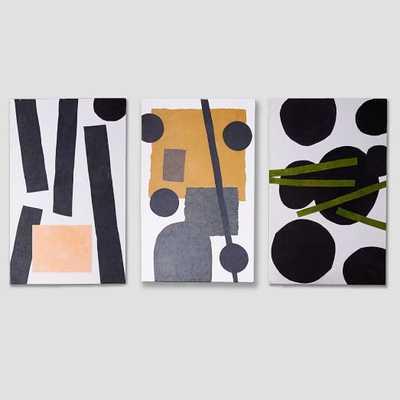 Papier-Mache Wall Art - Overlapping Shapes - Set of 3 - West Elm