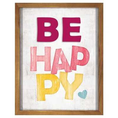 "Be Happy Screen Printed Glass Art - Pillowfortâ""¢-20""x16""-Framed ( Edges Brown) - Target"