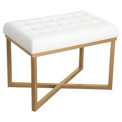 Rectangle Ottoman Velvet Tufted Cushion and Gold Metal X Base - HomePop - Target