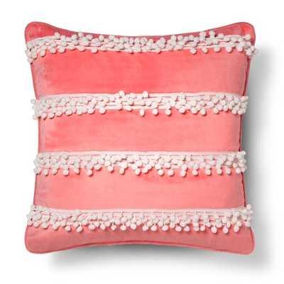 "Alexis Pom Pom Pillow 18x18 Pink - Sheringham Roadâ""¢-Polyester Insert - Target"