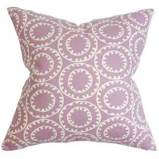 "Yowanda Geometric Pillow Purple - 18"" x 18"" - with down insert - Linen & Seam"