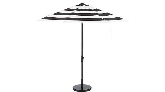 shadow round black and white stripe umbrella - CB2