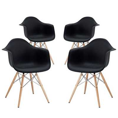 PYRAMID DINING ARMCHAIR SET OF 4 IN BLACK - Modway Furniture