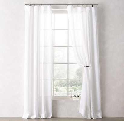 """Sheer Linen-Cotton Drapery Panel  - White -  96""""L - RH Teen"""