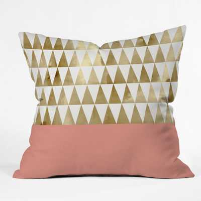 "GOLD TRIANGLES Throw Pillow - 20"" x 20"" - Indoor-  Polyester fill insert - Wander Print Co."