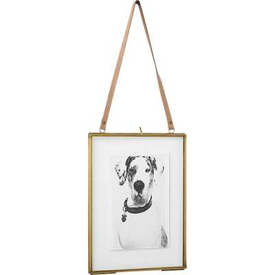 brass floating vertical 5x7 picture frame - CB2