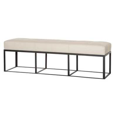 Cruz Modern Classic Ivory Leather 60 Inch Bench - Kathy Kuo Home