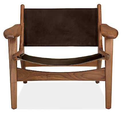 Lars Leather Lounge Chair -Sellare smoke, walnut - Room & Board