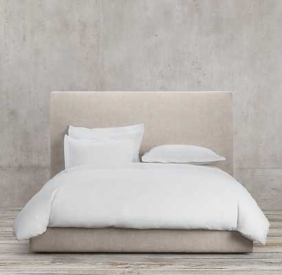 "Sullivan Fabric Platform Bed-QUEEN- Headboard 46"" - Army Duck-Natural - RH"