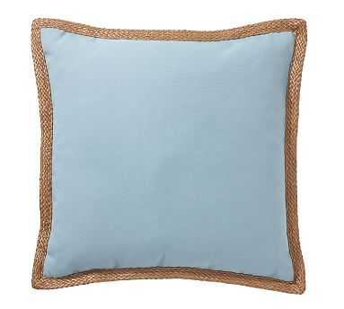 "Synthetic Trim Indoor/Outdoor Pillow, 20"", Aqua Mist - Pottery Barn"
