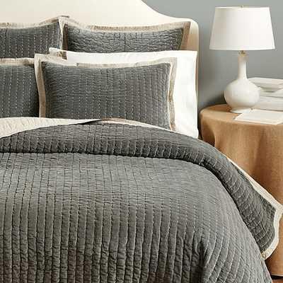Lucca Velvet Stitched Quilted Bedding - Quilt Gray King - Ballard Designs