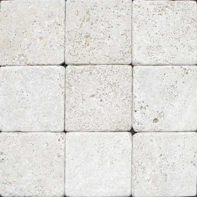 Chiaro 4 in. x 4 in. Tumbled Travertine Floor and Wall Tile (1 sq. ft. / case) - Home Depot