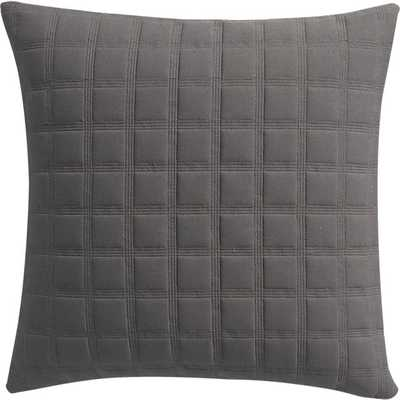 "18"" quadro quilted grey pillow with down-alternative insert - CB2"