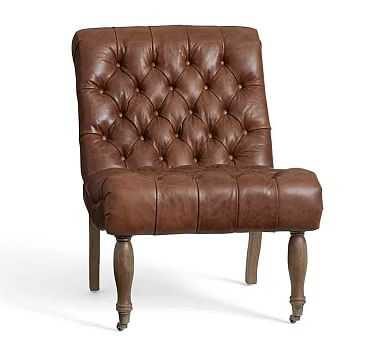 Carolyn Tufted Leather Chair, Vintage Brown - Pottery Barn