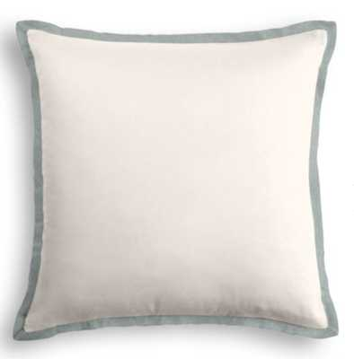 """20 x 20"""" throw pillow with down insert - front and back classic velvet snow - trim flange classic velvet sterling - Loom Decor"""