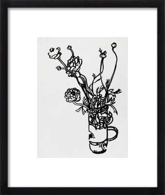 """Flowers in a Salsa Jar - 16x19"""" - Black Wood Frame with Matte - Artfully Walls"""