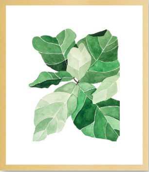 "Fiddle Leaf Fig - 19x22"" - Natural Smooth Veneer Frame with Matte - Artfully Walls"