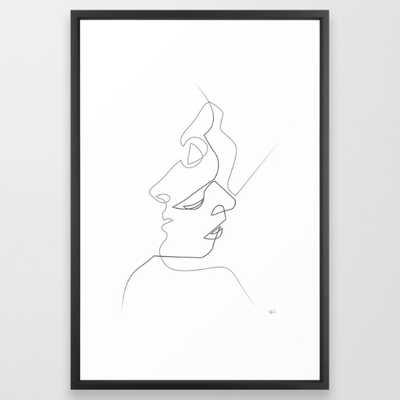"Close on white Art Print - 26"" x 38"" - Vector Black Frame - Society6"