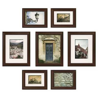 Gallery Perfect 7 Piece Multi-Size Wall Frame Set - Walnut - Target