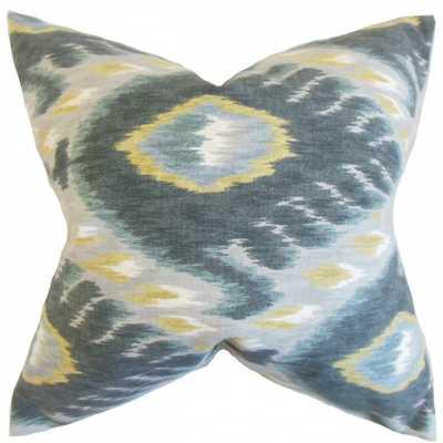 """Barnum Ikat Pillow Mineral - 18"""" x 18"""" - with insert - Linen & Seam"""