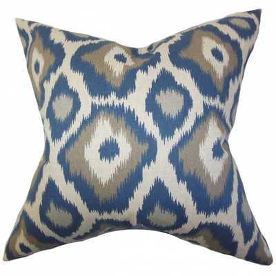Becan Ikat Pillow Blue - 18x18, Poly Insert - Linen & Seam