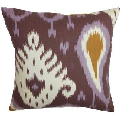 """Bentshaya Ikat Pillow Purple- 18"""" x 18""""- high-fiber polyester pillow insert. - Linen & Seam"""
