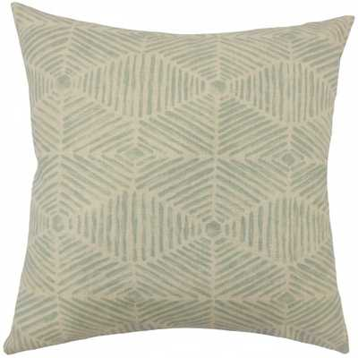 "Cais Geometric Pillow Lennox -  blue and tan, 20""sq., Down insert - Linen & Seam"