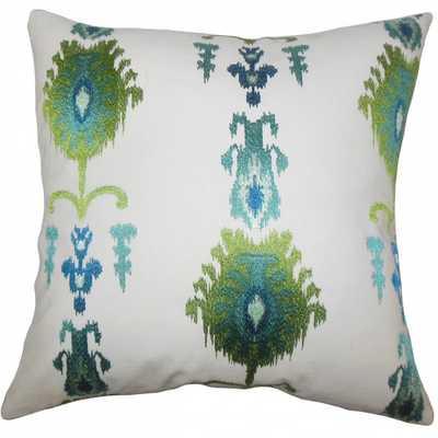 Calico Ikat Pillow Blue Green - 20x20 - Down Insert - Linen & Seam