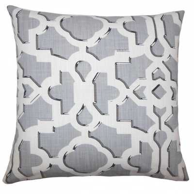 "Calixte Geometric Pillow Greystone - 18"" x 18"" - Down Insert - Linen & Seam"