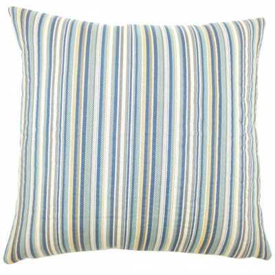 "Charnell Striped Pillow Domino - 18"" x 18"" - Down Insert - Linen & Seam"