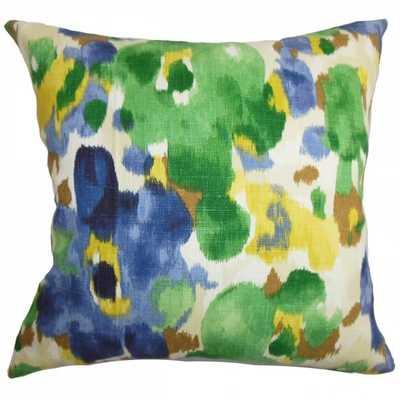 Delyne Floral Pillow Green Blue - 18x18 - Down Insert - Linen & Seam