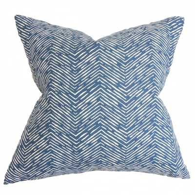 "Edythe Zigzag Pillow Blue- 18"" x 18""- down insert - Linen & Seam"