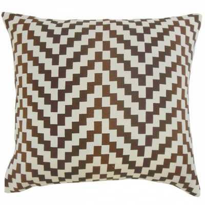 "Dhiren Geometric Pillow Mahogany - 18"" x 18"" - Down insert - Linen & Seam"