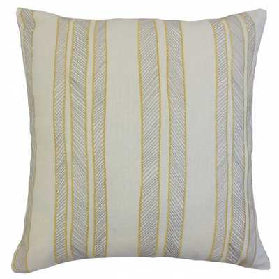 "Drum Stripes Pillow Sunny-20"" x 20""-Down Insert - Linen & Seam"