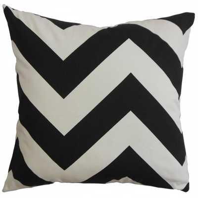 "Zayabury Zigzag Pillow Black White - 20"" x 20"" - Down Insert - Linen & Seam"