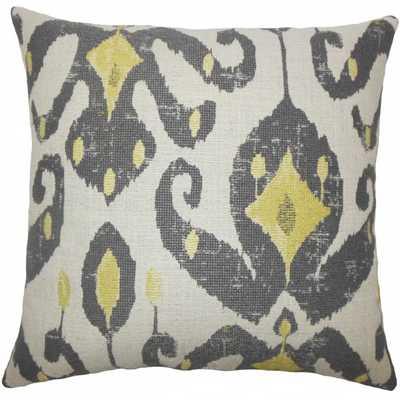 "Eitan Ikat Pillow Peridot - 18"" x 18"" - Down Insert - Linen & Seam"
