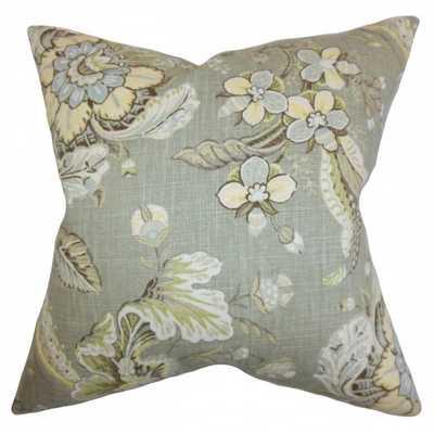 Eluned Floral Pillow Green - Down insert - Linen & Seam
