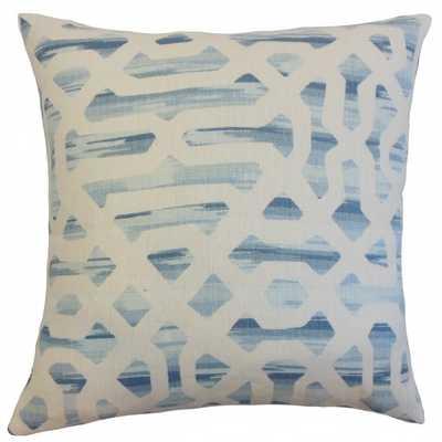 "Farok Geometric Pillow River - 18"" x 18"" - Down Insert - Linen & Seam"